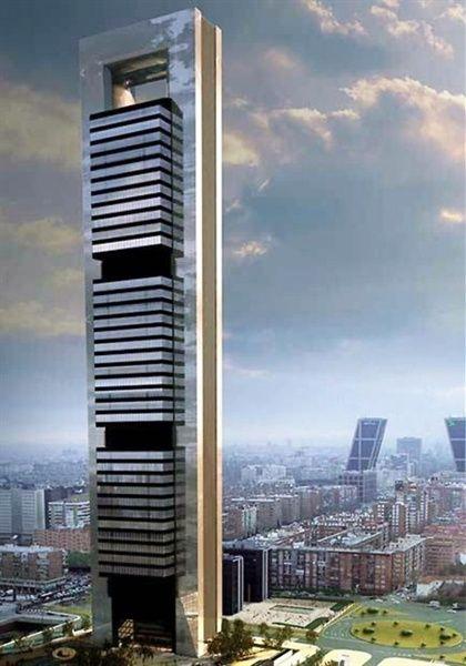 Futurista Arquitectura, Torre, Rascacielos, Torre Caja de Madrid. Por Norman Foster.