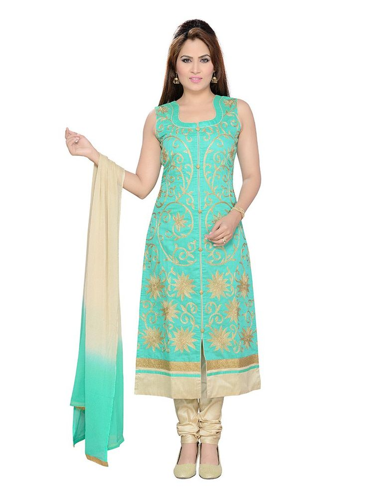Buy Embroidered Turquoise Green Churidar Suit, churidar-suit Online Shopping, SLMSL5355