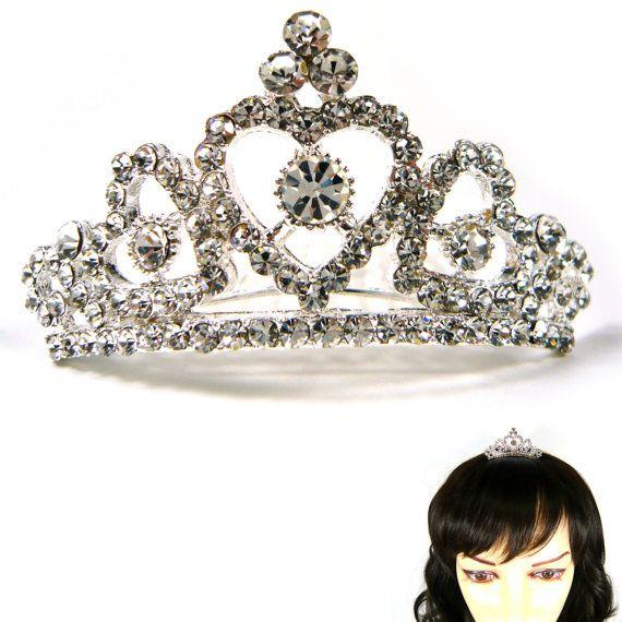 Mini Small White Silver Crystal Rhinestone Princess by acckorea