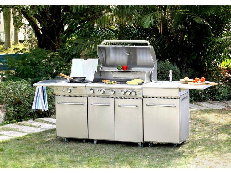 Barbecue gaz banquet avec r tissoire en acier inoxydable tous au jardin - Barbecue gaz avec rotissoire ...