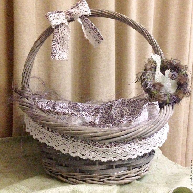 Купить Корзина для Пасхи - голубой, серый, пасхальный подарок, корзинка, корзинка для яиц, корзина, Пасха