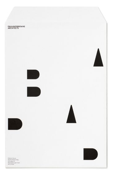 I love this envelope! lots of white space with black geometric shapes. love love love.