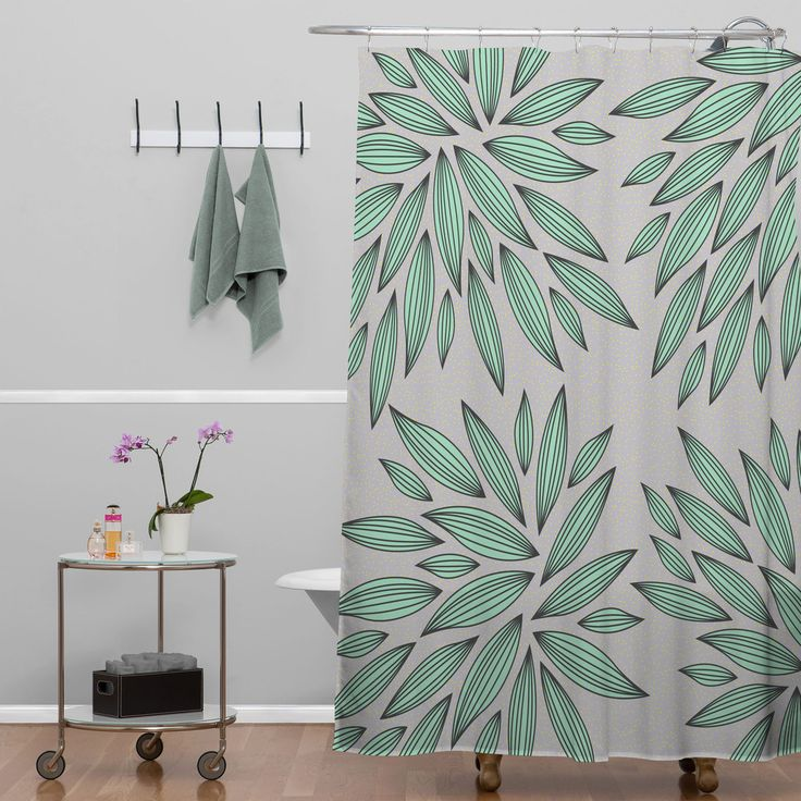 Black And Blue Shower Curtain Part - 40: Gabi Mint Shower Curtain