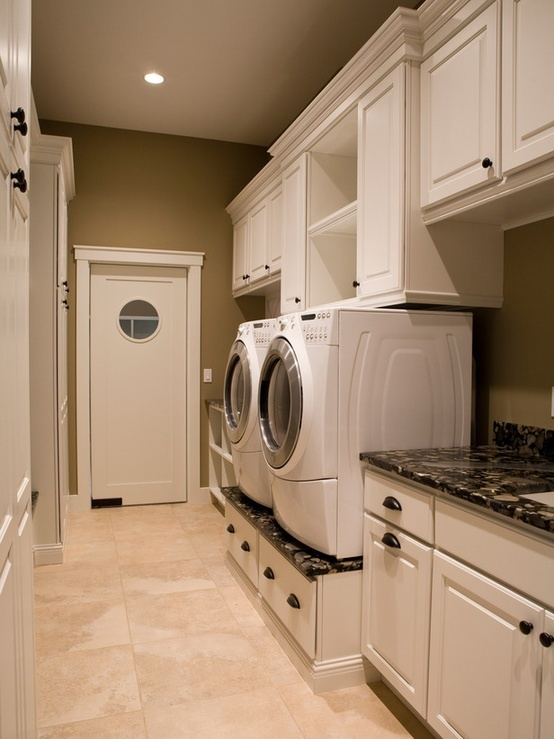 I like the white cabinets with black countertops. I would use Cherry Red LG laundry pair!
