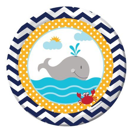 """Ahoy Matey 7"""" Cake Plates (8 Count) - Baby Shower Party Supplies"""