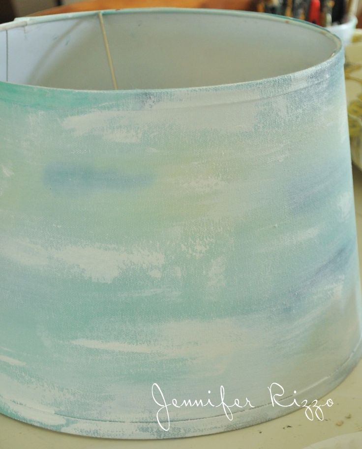 Paint a watercolor lamp shade -- She went on to make the color more prominent, but I love this photo & would stop right here!