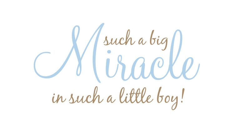 "Such a Big Miracle in Such a Little Boy or Girl Vinyl Wall Decal Quote Poem Saying for Boy Girl Baby Nursery - Our Miracle 18""H x 36""W. $39.00, via Etsy."