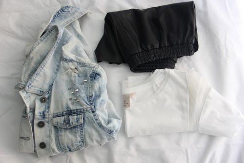 black, white, and denim