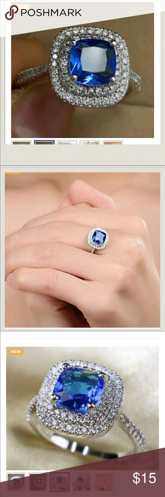 New .925 sterling silver ring sz. 9 Material: Sterling silver Condition: New Available Size 9 Available Colors: Blue  Material:925 sterling silver  Stone : Blue CZ Stone weight:2ct  Stone size: 5mm*5mm  Quality :High quality Jewelry Rings