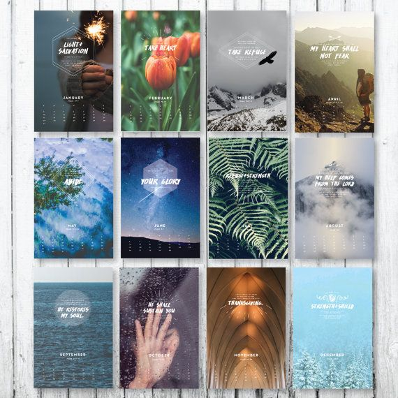 A wall calendar featuring 12 Psalms, beautiful designed by Milwaukee-area designer Liz Carver, and produced by Third Coast Paper for