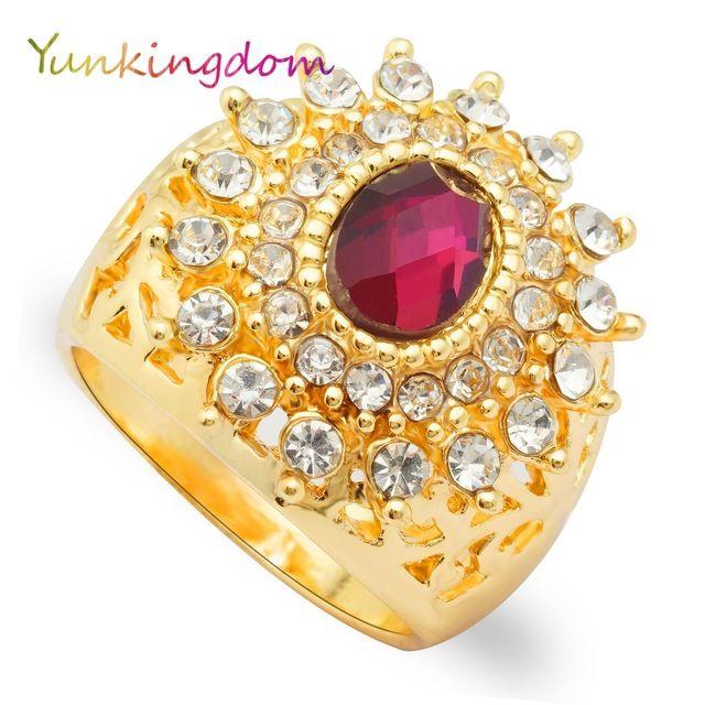 Charme Da Moda Anéis Do Partido para As Mulheres Cristal Zircons Banhado A Ouro Amarelo Anéis Exagerada Grande Anel Feminino