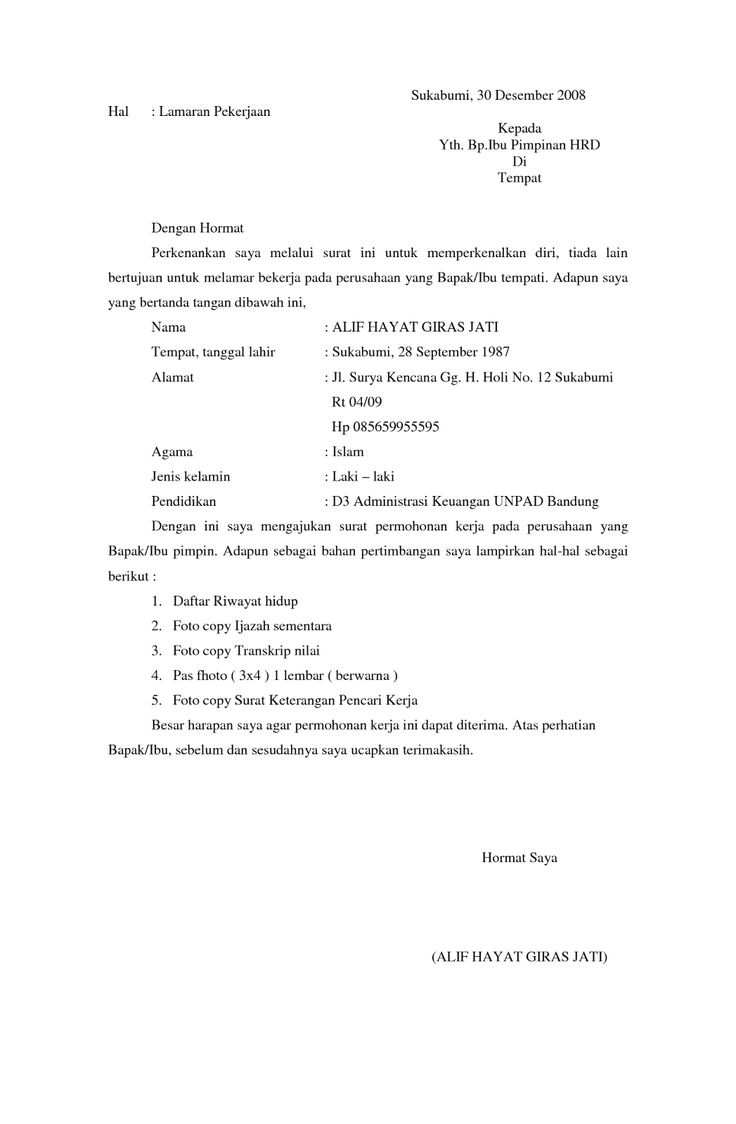 10 Surat Lamaran Kerja Formal | Tulisan, Surat