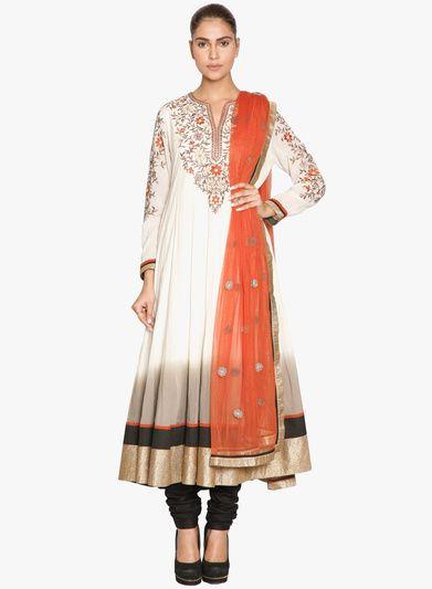 Buy Ritu Kumar Off White Embroidered Churidar Kameez Chunni for Women Online India, Best Prices, Reviews | RI521WA92TNFINDFAS
