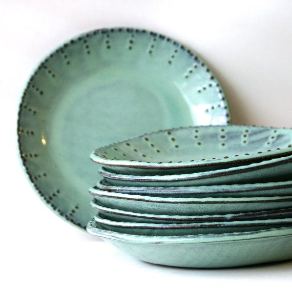 Deep Salad Plates - Set of 2 - Aqua Mist Creamy White Dark Teal - French Country Dinnerware - Pottery Stoneware via Etsy
