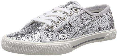 Pepe Jeans London ABERLADY GLITTER PARTY, Damen Sneakers, Silber (934SILVER), 38 EU - http://on-line-kaufen.de/pepe-jeans/38-eu-pepe-jeans-london-aberlady-glitter-party-2