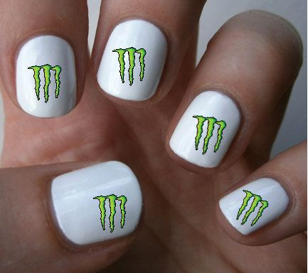 Monster Energy Nail Art Decals Stickers By Ilovenaildecals 4 50 Cool Ideas Pinterest Nails And