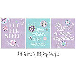 Let her sleep nursery wall art, Purple aqua nursery decor, Baby girl nursery art prints, Purple nursery decor, Floral wall decor, Girls room art - SET OF 3 UNFRAMED ART PRINTS