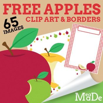 Hey Friends!! Grab this awesome set of FREE apple clipart images! You will get apple clipart graphics and 20 free borders!! Just in time for all your back to school classroom clipart needs! Great for teachers, TPT sellers, homeschool parents, and just-for-fun projects!