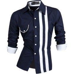 Camisa Social Masculina Preto e Branco Elegante Festa Manga Longa 8f5b33a34c7a0