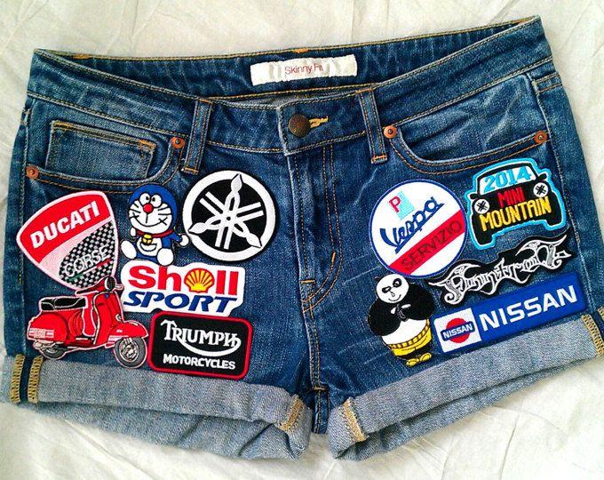 Parches del dril de algodón / mano reelaborado Vintage Shorts de Jean con parches vendimia Jean pantalones cintura 30