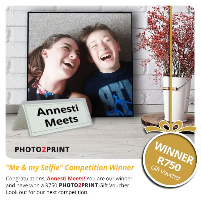 """Congratulations to the winner of our """"Me & my Selfie"""" Photo Competition, Annesti Meets! You have won a R750 Photo2Print Gift Voucher. Be on the look-out for our next competition. www.photo2print.co.za #congratulations #youarethebest #doitagain"""