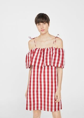 Gingham check dress -  Woman | MANGO United Kingdom