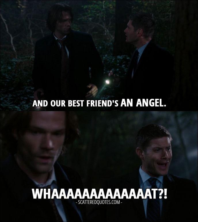 Quote from Supernatural 12x11 │  Dean Winchester (to Sam): And our best friend's an angel. Whaaaaaaaaaaaaat?!