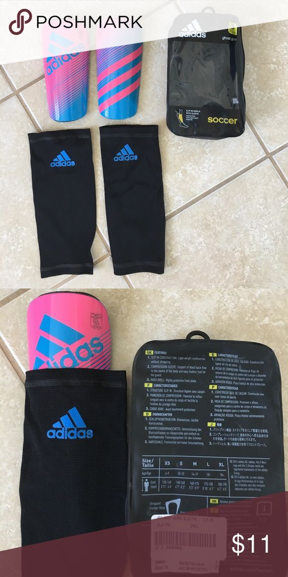 """NWT Adidas Shinguards Brand new, never worn! Adidas shin guards for kids, size Small (4'7""""- 5'2"""" or ages 10-13). Includes 2 compression sleeves and slip in shields. Perfect condition. Adidas Other"""
