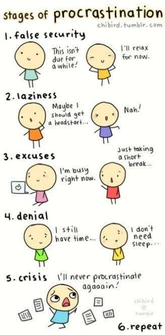 stages of procrastination. i am way too familiar with these!: Students Life, Colleges Life, Sotrue, My Life, Funny Stuff, So True, Totally Me, True Stories, High Schools