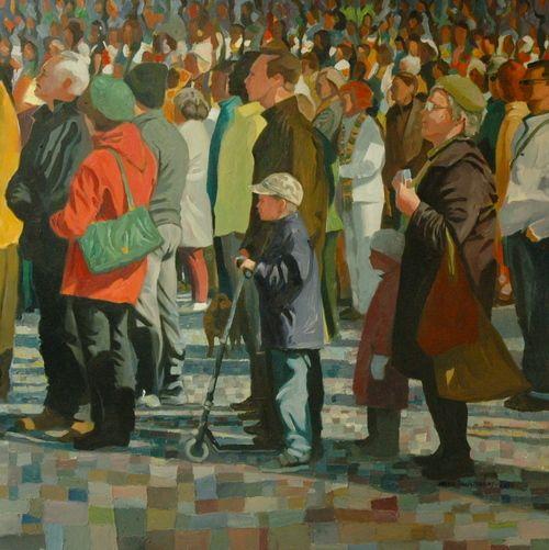 "Art of Finnish Joonas Vähäsöyrinki ""Katsojat II"" oil on canvas, 2012"