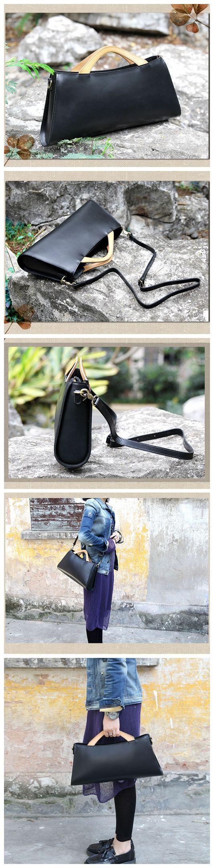 Handcrafted Black Genuine Leather Handbag Women's Clutch Messenger Bag 14101