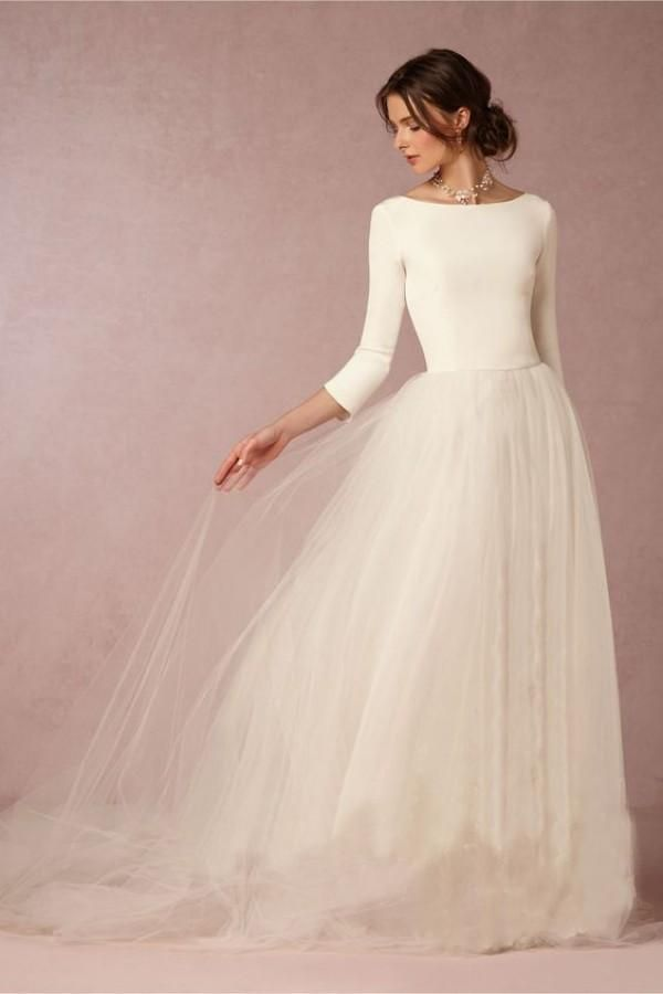 Cheap Stunning Winter Wedding Dresses A Line Satin Top Backless 2016 Bridal Gowns with Sleeves Simple Design Soft Tulle Skirt Sweep Train