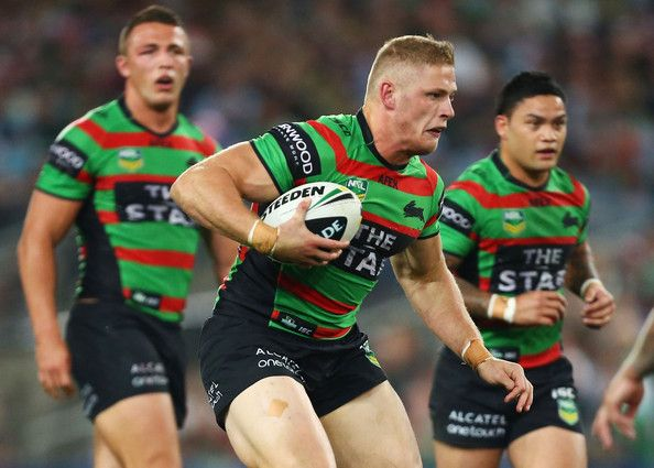 George Burgess of the Rabbitohs runs with the ball during the round 26 NRL match between the South Sydney Rabbitohs and the Sydney Roosters at ANZ Stadium on September 6, 2013 in Sydney, Australia.