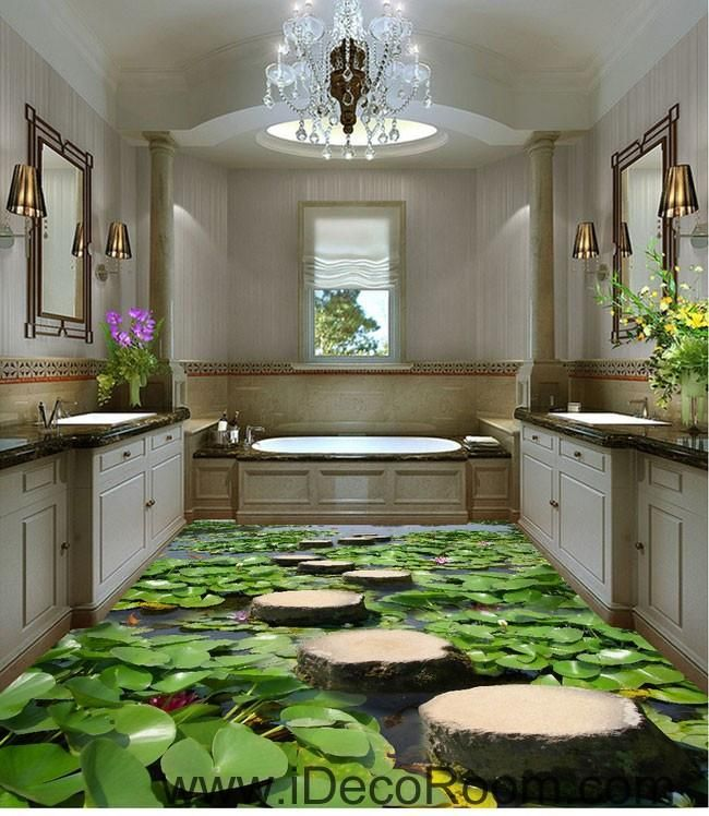 Lilypad Pond Stone Stage Fish 00097 Floor Decals 3D Wallpaper Wall Mural Stickers Print Art Bathroom Decor Living Room Kitchen Waterproof Business Home Office Gift