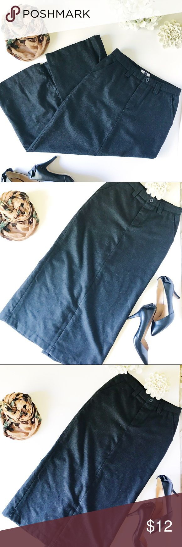 Gap Long Maxi Wool Skirt with Split This maxiskirt has a split in the back. It's heavy so it's so perfect for the cooler fall winter months that are upcoming. Don't miss this skirt! Gray color slit is 16 1/2 inches GAP Skirts Maxi