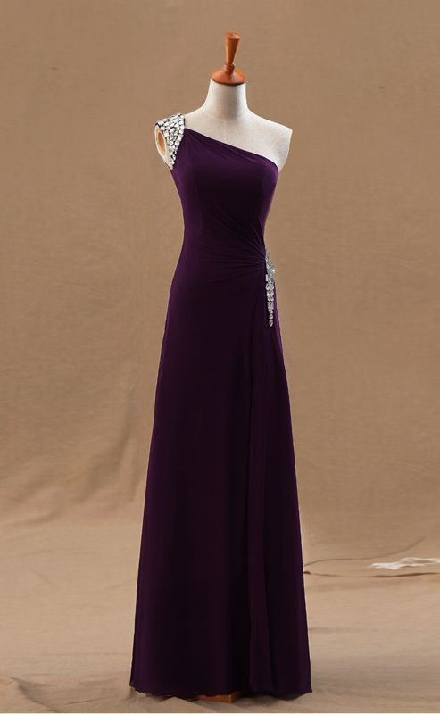 Shine Crystals A-line One Shoulder Floor Length Chiffon Prom Dress With Zipper Back