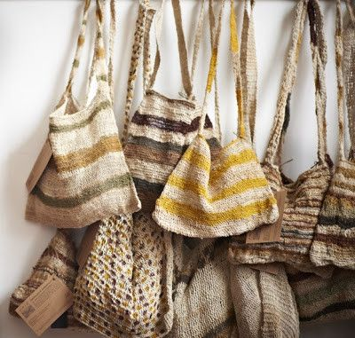 BUSH TWINE Bilum with natural pigment dye  Handmade by the Omie Tribe of Papau New Guinea