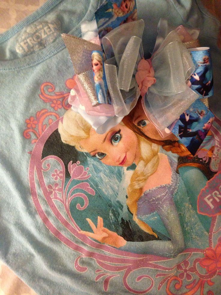 Double ruffle girls bow frozen queen Elsa