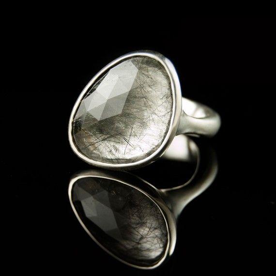 Pebble Ring Rose Cut Tourmalinated Quartz Sterling by NodeformDiamonds Gallery, Pebble Rings, Cut Tourmaline, Rose Cut, Diamonds Rings, Sterling Silver, Tourmaline Quartz, Gemstones Rings, Engagement Rings