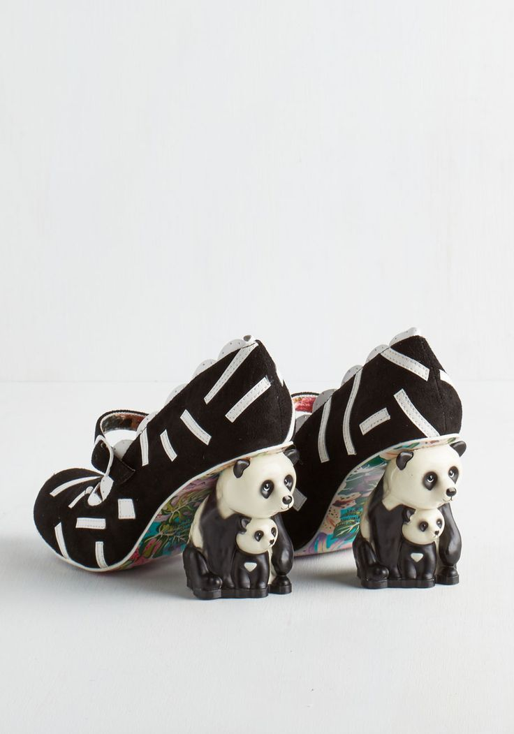 Irregular Choice Forever Panda Day Heel. Fall head over heels for these adorably bold pumps by Irregular Choice! #black #modcloth