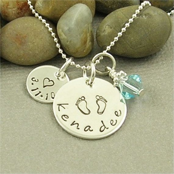 New Baby Mommy Necklace Personalized Hand by BaWStampedDesigns, $34.00