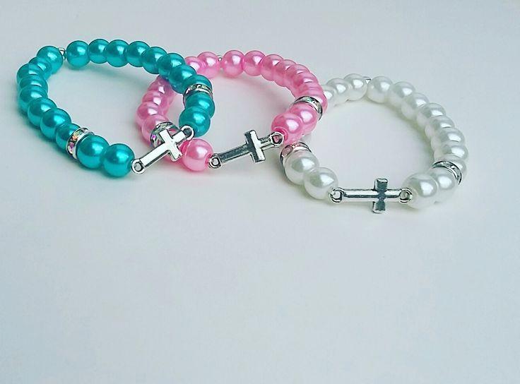 Baby christening bracelet, Baby baptism bracelet,Baby beaded cross bracelet