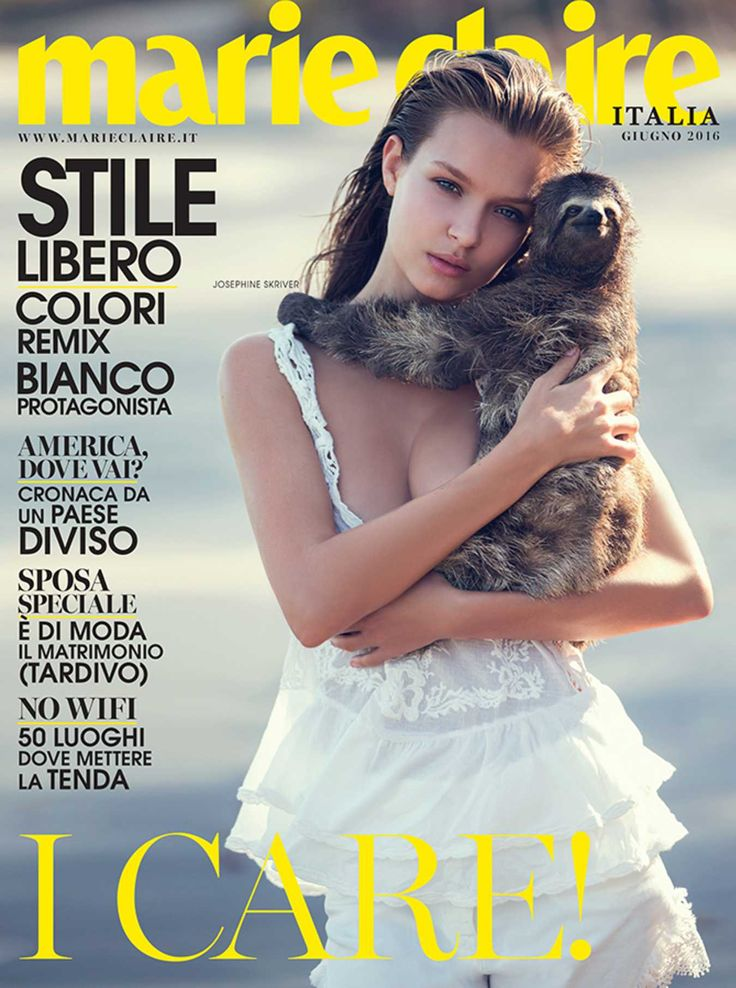 Josephine Skriver and a sloth, Marie Claire Italy June 2016. Photo: David Bellemare.