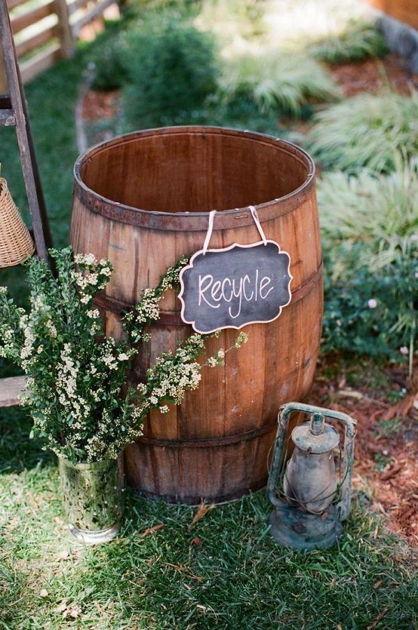 decoración de la boda barril de vino rústica de boda del patio trasero