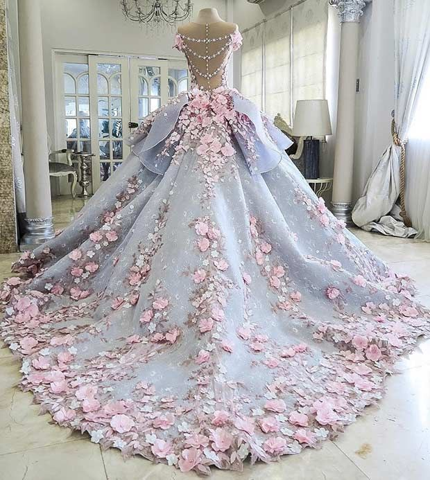 Blue and Pink Princess Wedding Dress