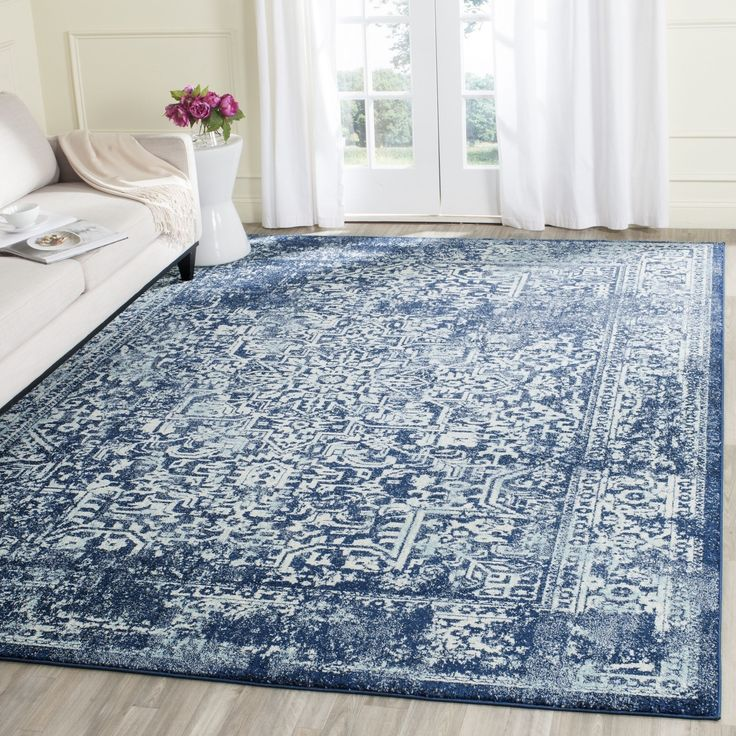 Safavieh Evoke Vintage Oriental Navy (Blue) / Ivory Distressed Rug (10' x 14') (EVK256A-10), Size 10' x 14' (Polypropylene, Abstract)