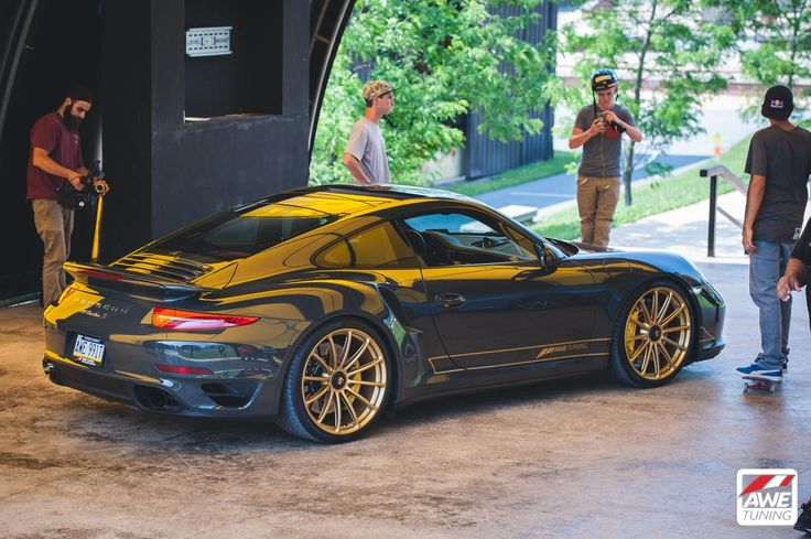 awe tuning 39 s slate gray 991 porsche 911 twin turbo s on forgeline one piece forged monoblock. Black Bedroom Furniture Sets. Home Design Ideas