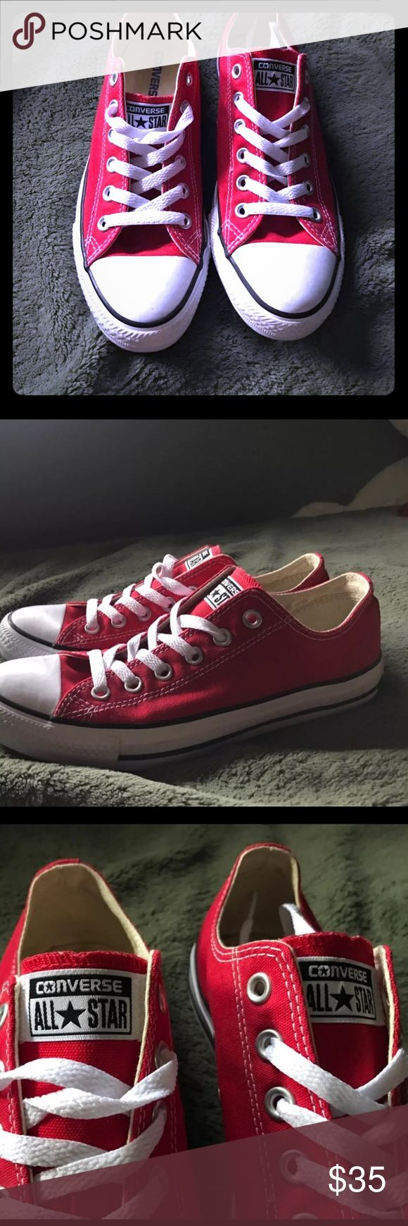 Very cute red converse Size 8.5 excellent converse. Converse Shoes Sneakers