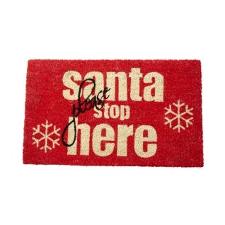 Santa Stop Here Christmas Doormat --- Quick Info: Price £15.50 Make Santa welcome with our �Santa Please Stop Here� Christmas Doormat, which is the perfect way to create a festive doorway. --- Available from Roman at Home. Images Copyright www.romanathome.com