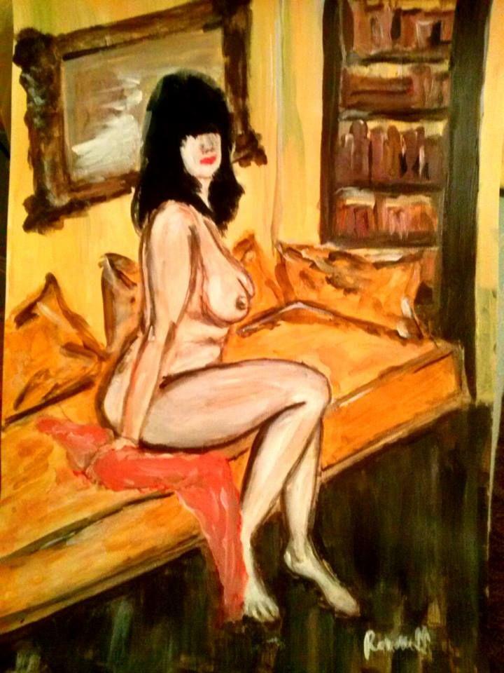 Yellow nude! 30x42cm,acrylic,by Ramoness